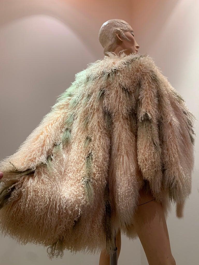 1970s Bohemian Mongolian Lamb Coat Converts To Poncho W/ Mink Tail Fringe For Sale 5