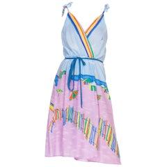 1970s Boho Beach Print Wrap Dress