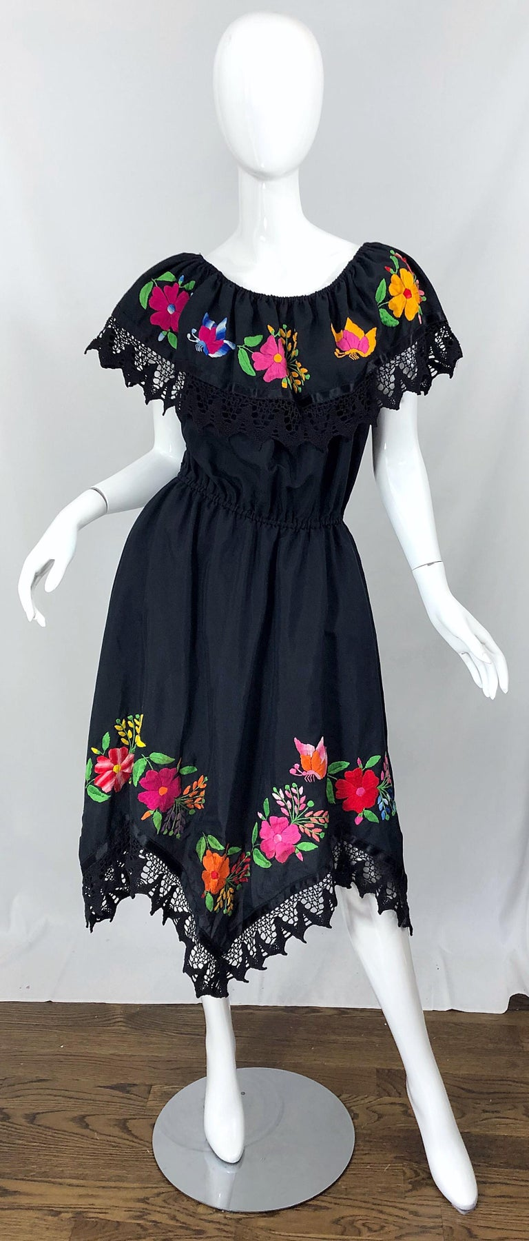 1970s Boho Chic Black Colorful Cotton Embroidered Handkerchief Hem Vintage Dress For Sale 8