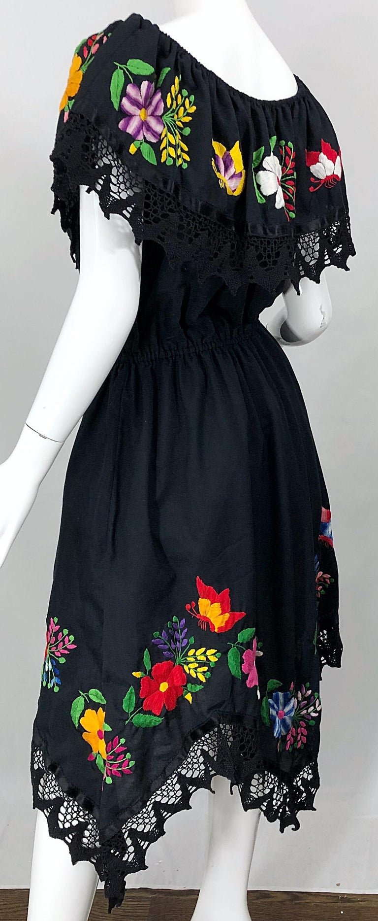 1970s Boho Chic Black Colorful Cotton Embroidered Handkerchief Hem Vintage Dress For Sale 9