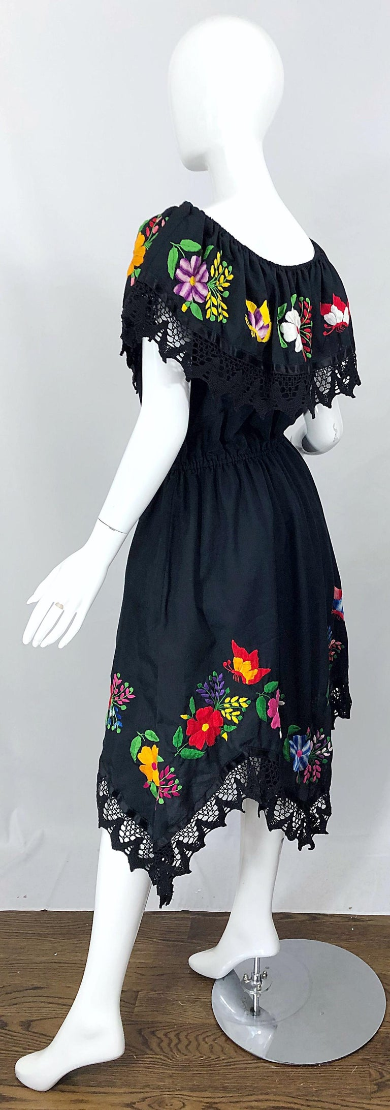 1970s Boho Chic Black Colorful Cotton Embroidered Handkerchief Hem Vintage Dress For Sale 2