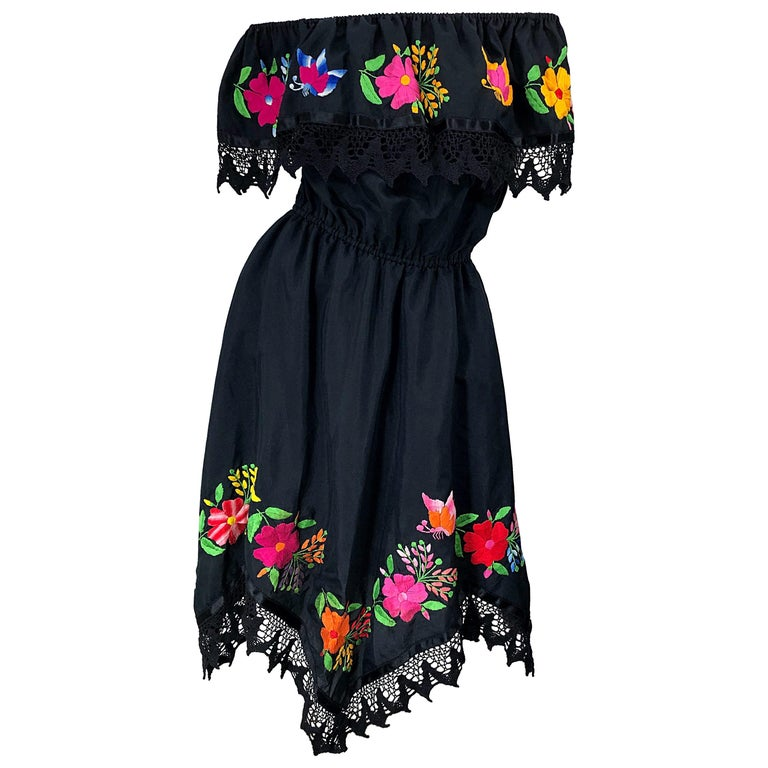 1970s Boho Chic Black Colorful Cotton Embroidered Handkerchief Hem Vintage Dress For Sale