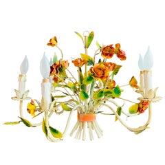 1970s Boho Chic Italian Tole Metal Flowers Chandelier