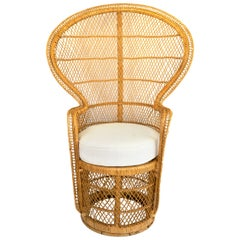 1970s Boho Chic Rattan Peacock Chair