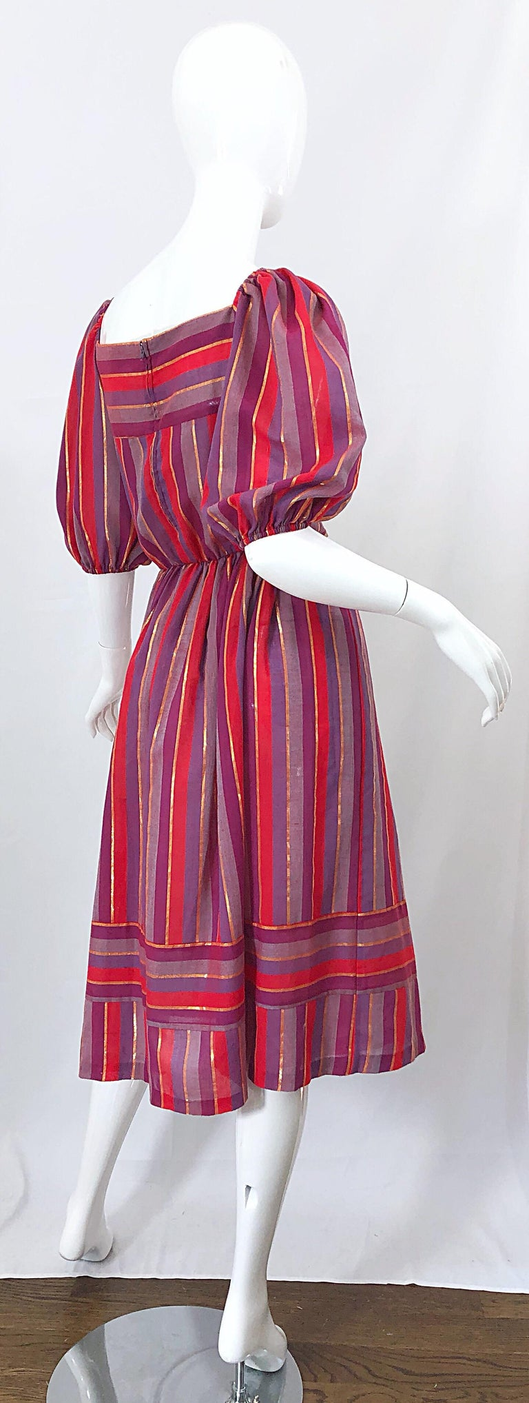 1970s Boho Chic Red + Purple + Gold Striped Cotton Voile 70s Vintage Dress For Sale 5