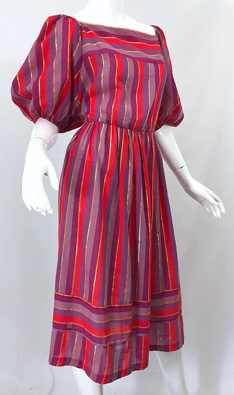 1970s Boho Chic Red + Purple + Gold Striped Cotton Voile 70s Vintage Dress For Sale 6