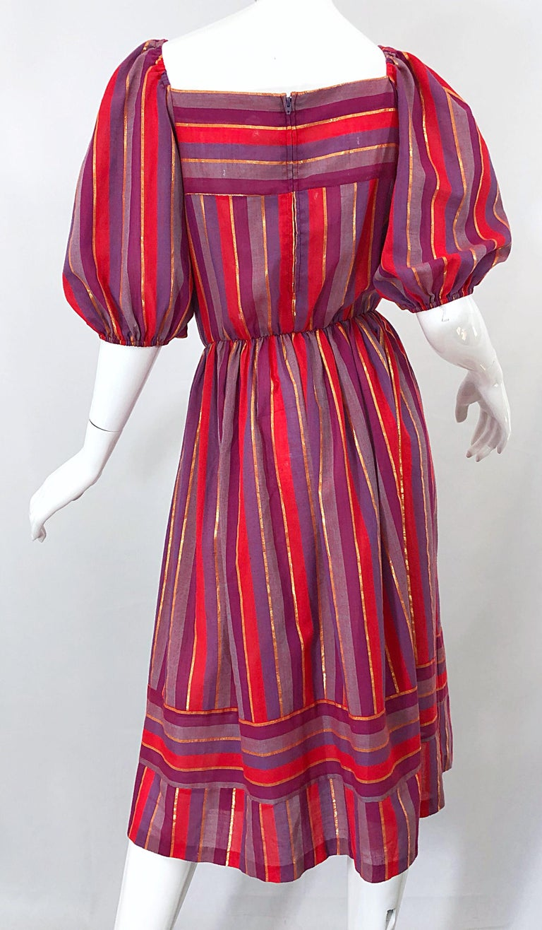 1970s Boho Chic Red + Purple + Gold Striped Cotton Voile 70s Vintage Dress For Sale 7