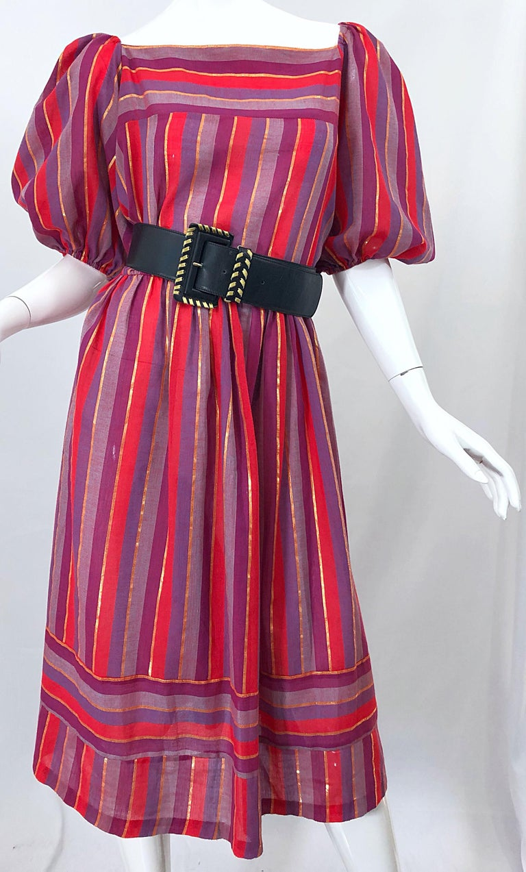 1970s Boho Chic Red + Purple + Gold Striped Cotton Voile 70s Vintage Dress For Sale 8