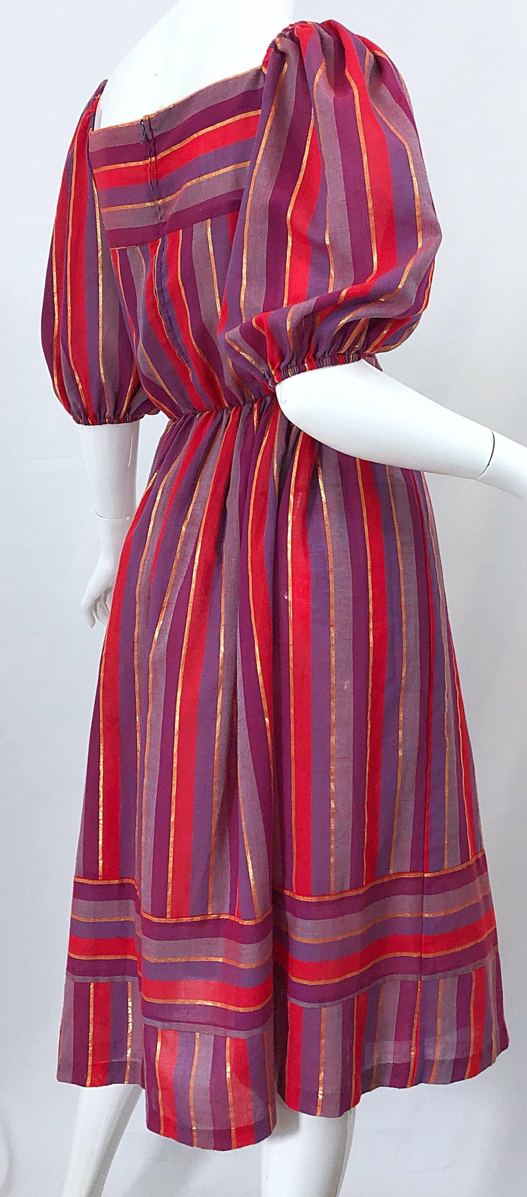 1970s Boho Chic Red + Purple + Gold Striped Cotton Voile 70s Vintage Dress For Sale 9