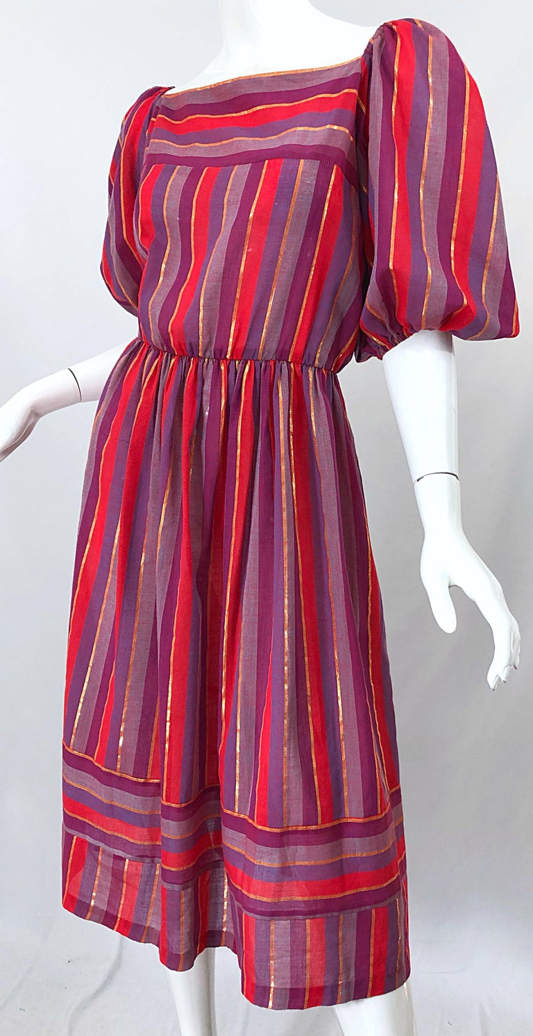 1970s Boho Chic Red + Purple + Gold Striped Cotton Voile 70s Vintage Dress For Sale 10