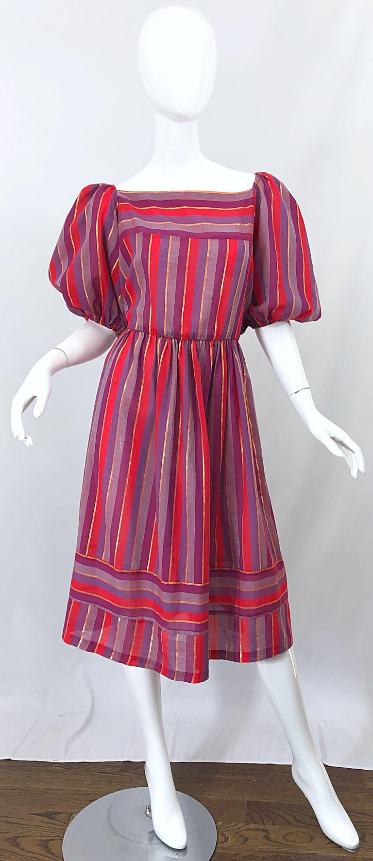 1970s Boho Chic Red + Purple + Gold Striped Cotton Voile 70s Vintage Dress For Sale 11