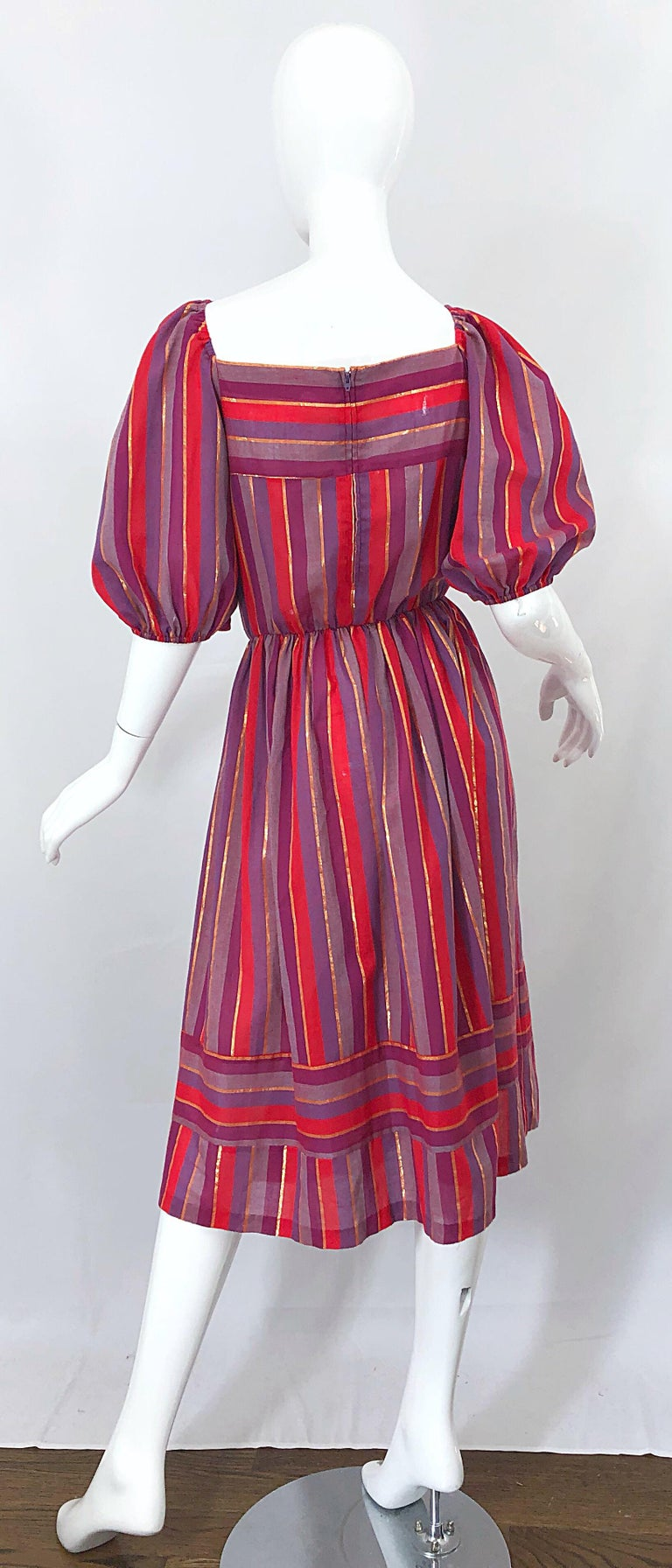 Brown 1970s Boho Chic Red + Purple + Gold Striped Cotton Voile 70s Vintage Dress For Sale