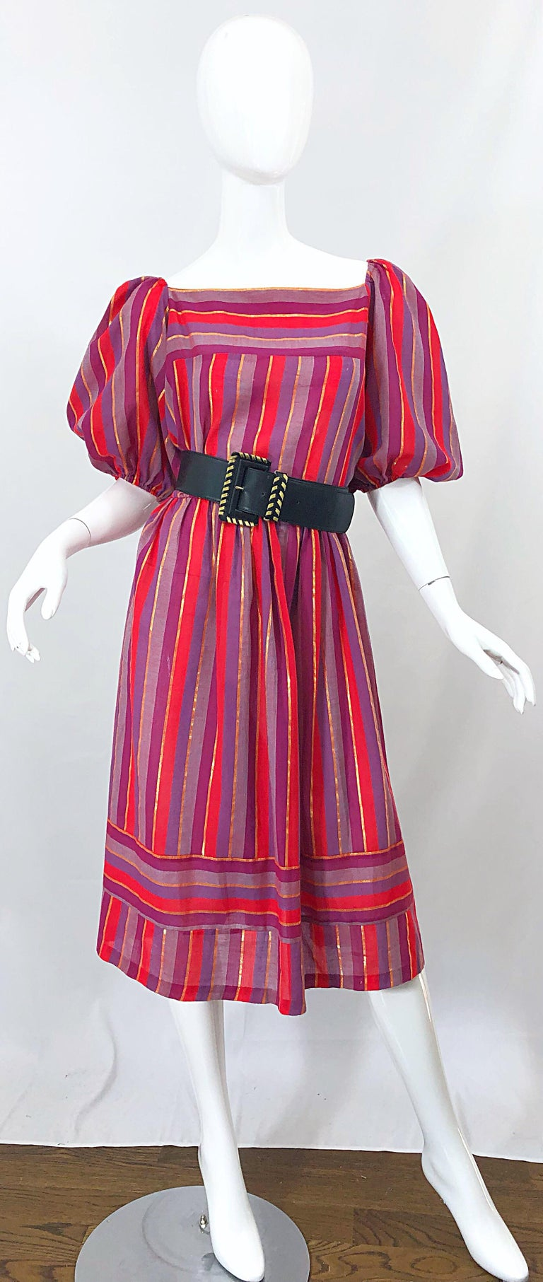1970s Boho Chic Red + Purple + Gold Striped Cotton Voile 70s Vintage Dress In Excellent Condition For Sale In Chicago, IL