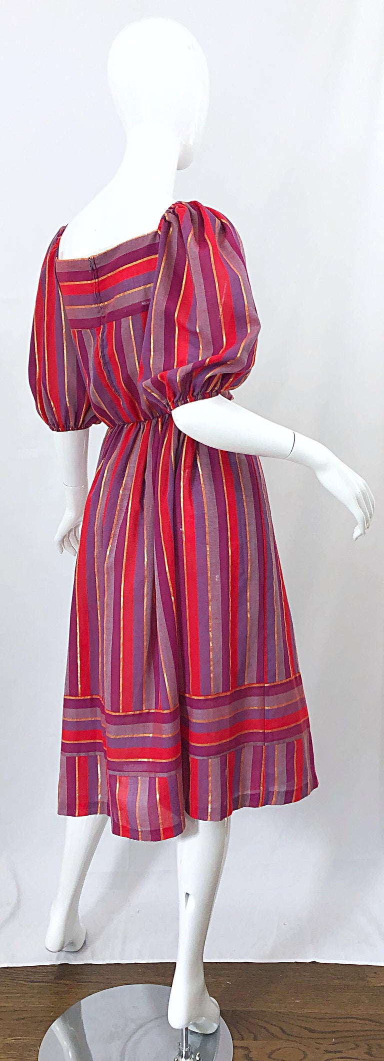 Women's 1970s Boho Chic Red + Purple + Gold Striped Cotton Voile 70s Vintage Dress For Sale