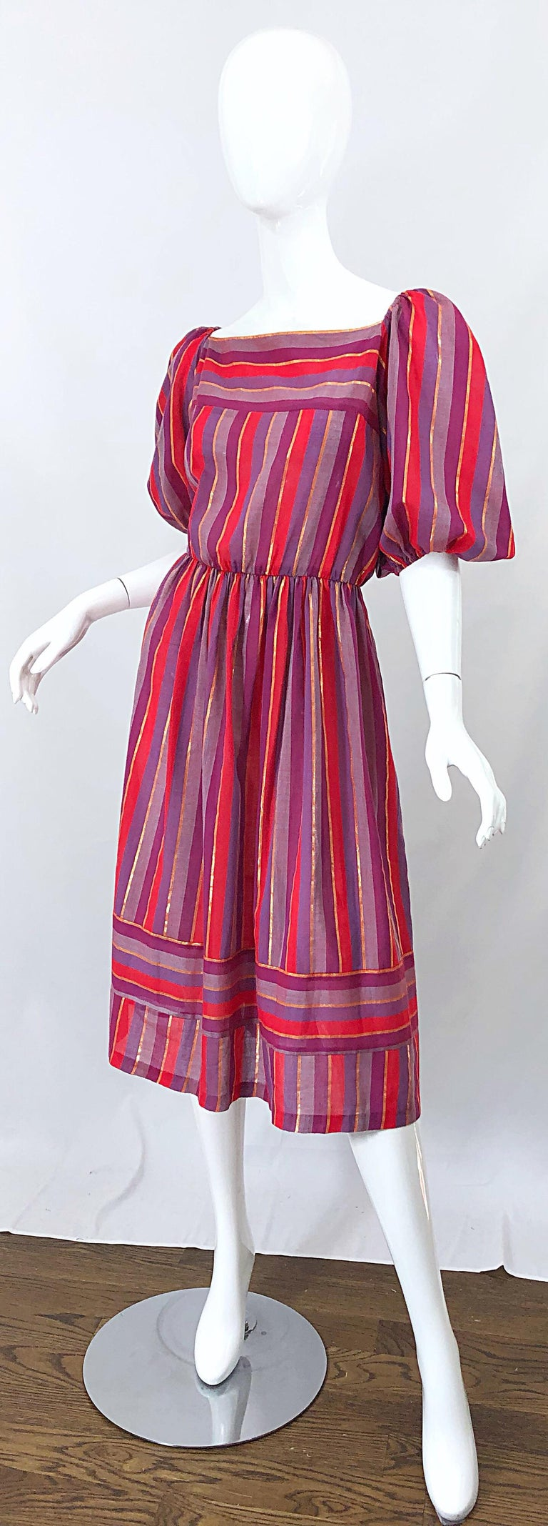 1970s Boho Chic Red + Purple + Gold Striped Cotton Voile 70s Vintage Dress For Sale 1