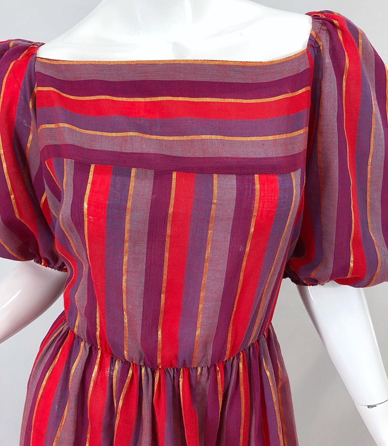 1970s Boho Chic Red + Purple + Gold Striped Cotton Voile 70s Vintage Dress For Sale 2