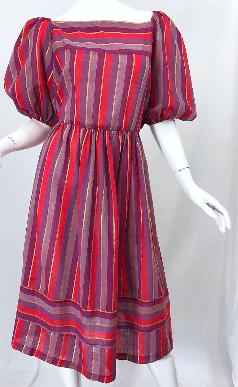 1970s Boho Chic Red + Purple + Gold Striped Cotton Voile 70s Vintage Dress For Sale 3