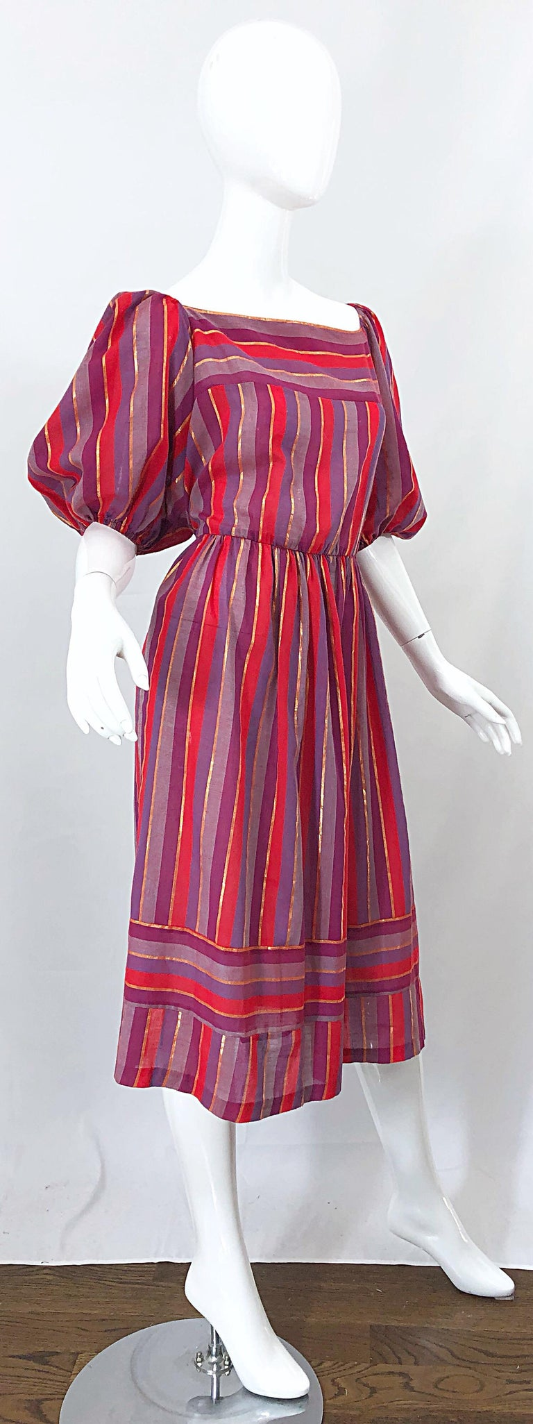 1970s Boho Chic Red + Purple + Gold Striped Cotton Voile 70s Vintage Dress For Sale 4