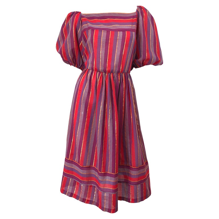 1970s Boho Chic Red + Purple + Gold Striped Cotton Voile 70s Vintage Dress For Sale