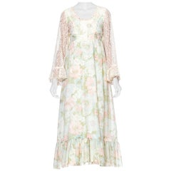 1970S Boho Floral Printed Cotton Tulle Dress Lined In Silk