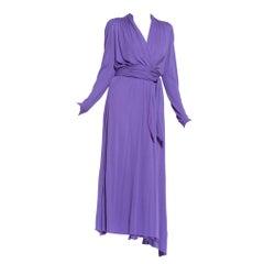 1970's Boho Lilac Purple Rayon Silk Jersey Wrap Dress