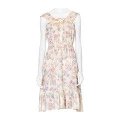 1970's Boho Victorian Floral Cotton Gauze Dress
