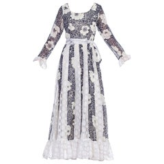1970's Boho Victorian Revival Floral Cotton And Lace Dress