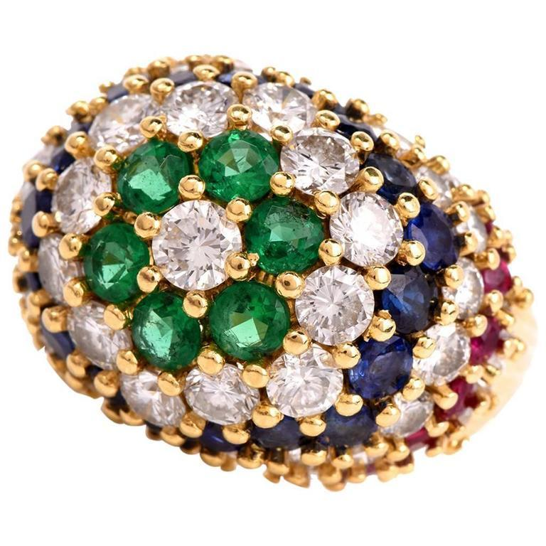 1970s Bombe Diamond Emerald Sapphire Ruby 18 Karat Gold Dome Ring
