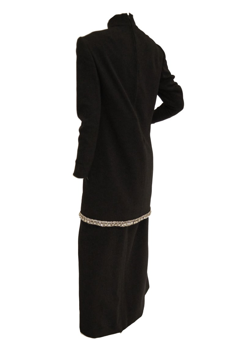 1970s Black Wool Evening Dress Ensemble with Oversized Rhinestone Trim For Sale 6