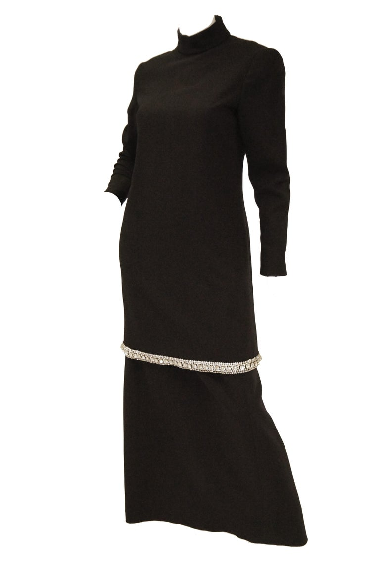 1970s Black Wool Evening Dress Ensemble with Oversized Rhinestone Trim For Sale 2