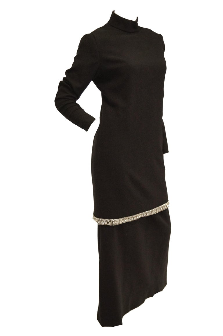1970s Black Wool Evening Dress Ensemble with Oversized Rhinestone Trim For Sale 3