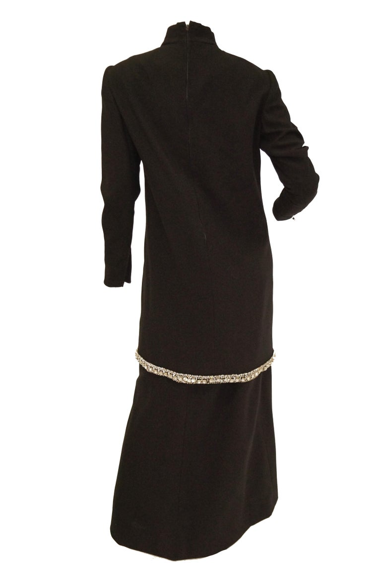 1970s Black Wool Evening Dress Ensemble with Oversized Rhinestone Trim For Sale 4