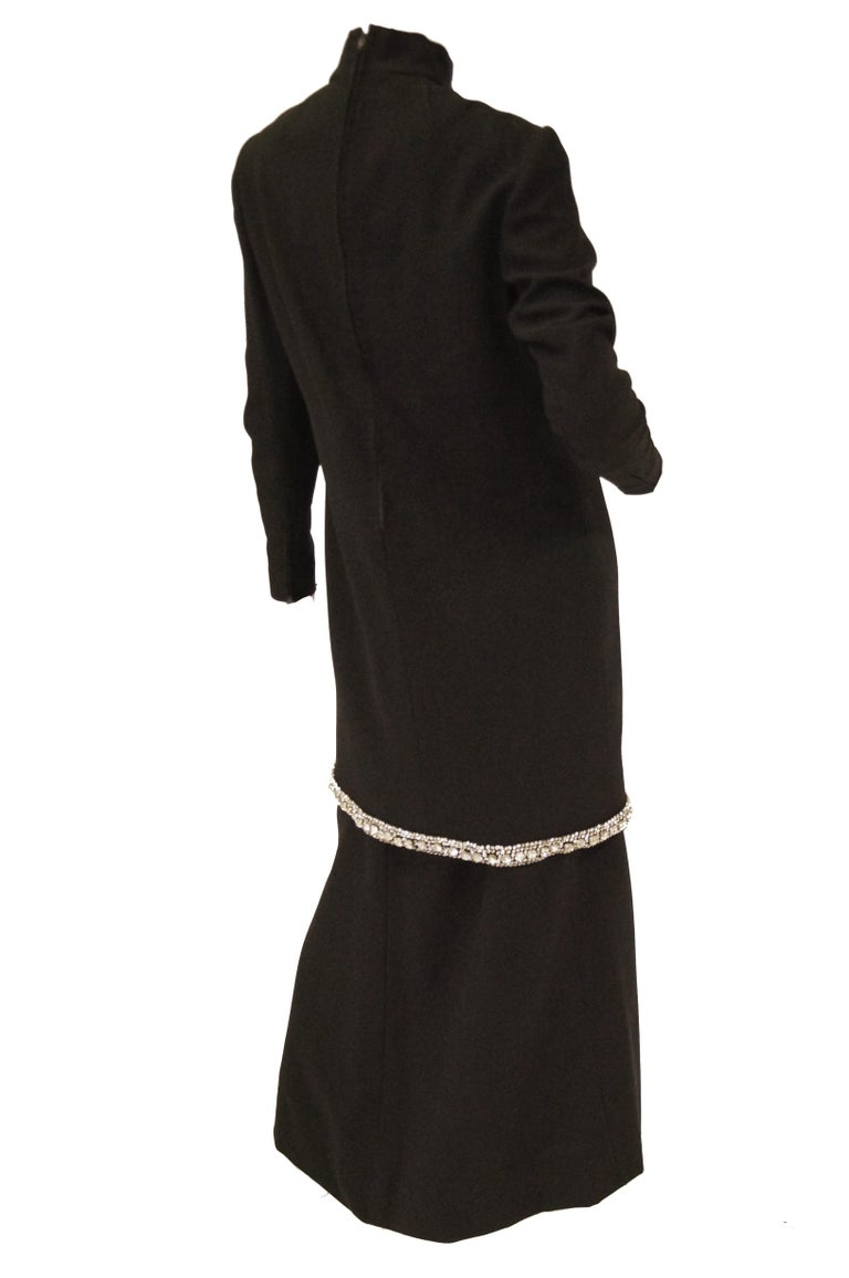 1970s Black Wool Evening Dress Ensemble with Oversized Rhinestone Trim For Sale 5