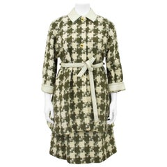 1970s Bonnie Cashin Cream and Green Houndstooth Coat and Skirt Ensemble
