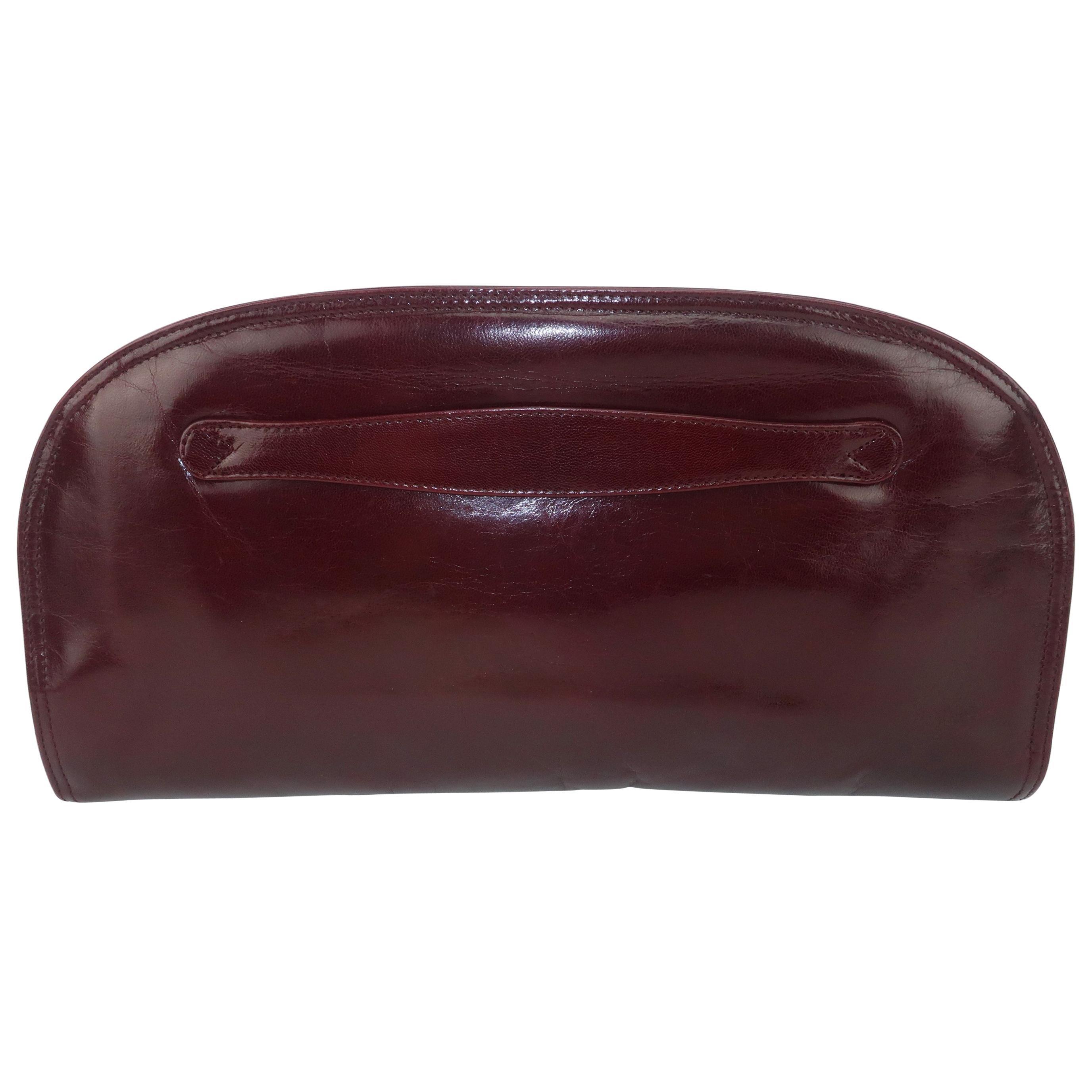 1970's Bottega Veneta Burgundy Leather Clutch Handbag