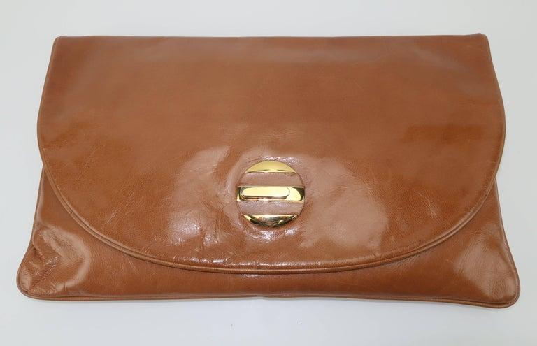Brown 1970's Bottega Veneta Large Envelope Leather Clutch Handbag For Sale
