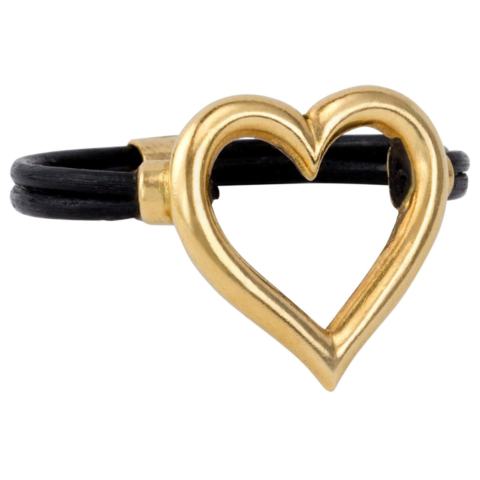 1970s Boucheron Elephant Hair and Gold Heart Ring