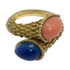 1970s Boucheron Serpent Boheme Gold Lapis Lazulis Coral Ring