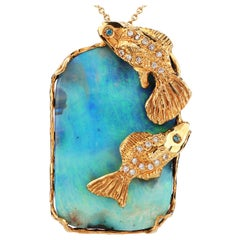 1970's Boulder Opal Diamond 18K Gold Large Fish Pendant