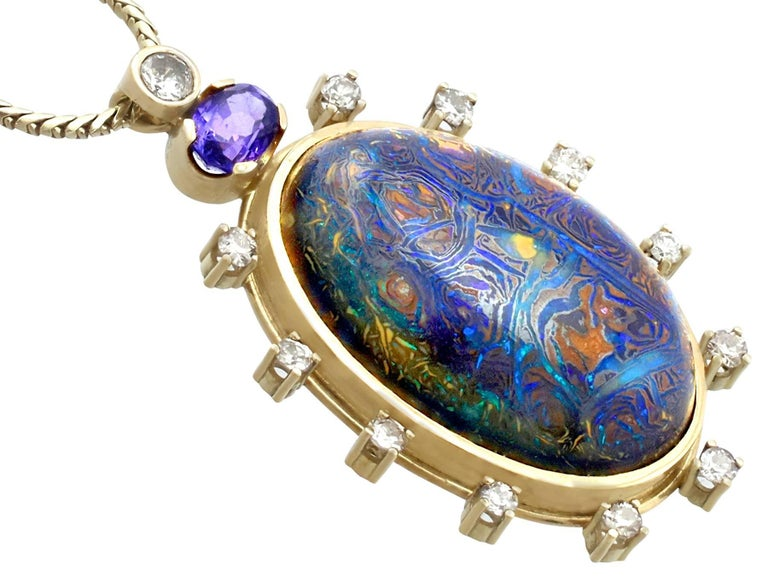 1970s Boulder Opal Sapphire & Diamond Pendant In Excellent Condition For Sale In Jesmond, Newcastle Upon Tyne