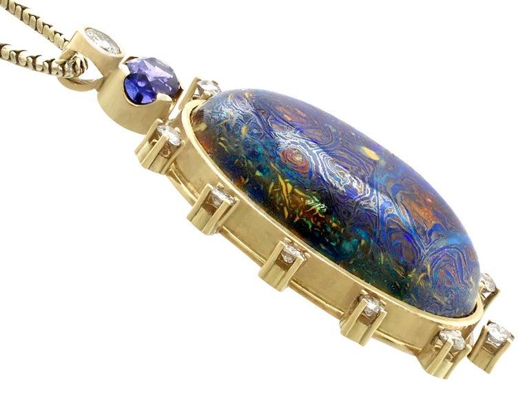 Women's 1970s Boulder Opal Sapphire & Diamond Pendant For Sale