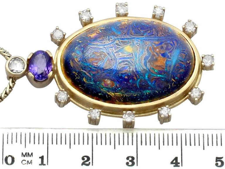 1970s Boulder Opal Sapphire & Diamond Pendant For Sale 2