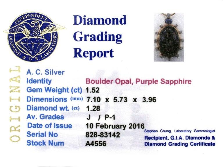 1970s Boulder Opal Sapphire & Diamond Pendant For Sale 3
