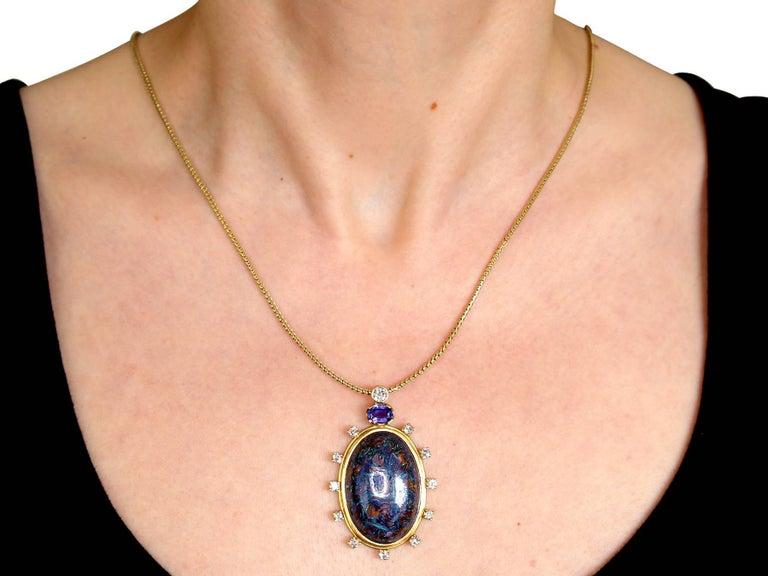 1970s Boulder Opal Sapphire & Diamond Pendant For Sale 4