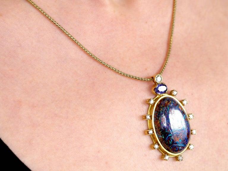 1970s Boulder Opal Sapphire & Diamond Pendant For Sale 5