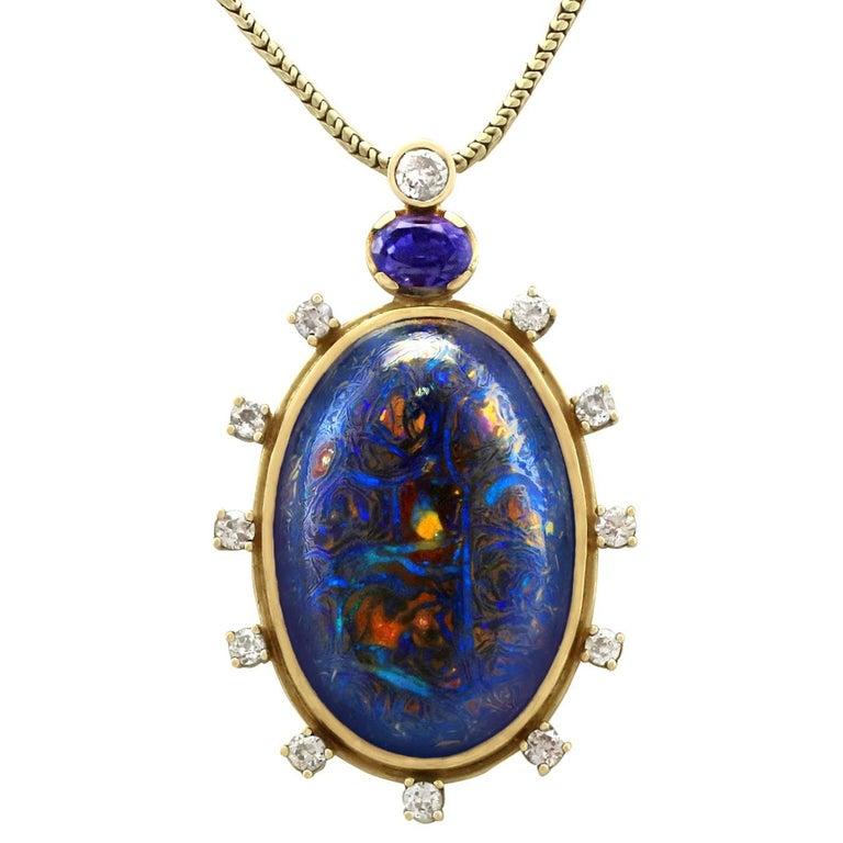 1970s Boulder Opal Sapphire & Diamond Pendant For Sale