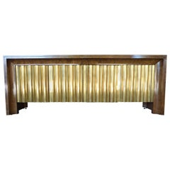 1970s Brass and Amboyna Wood Credenza by Mastercraft