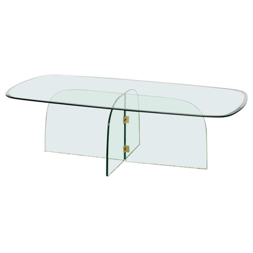 1970s Brass and Beveled Glass Coffee Table in Style of Pace Collection