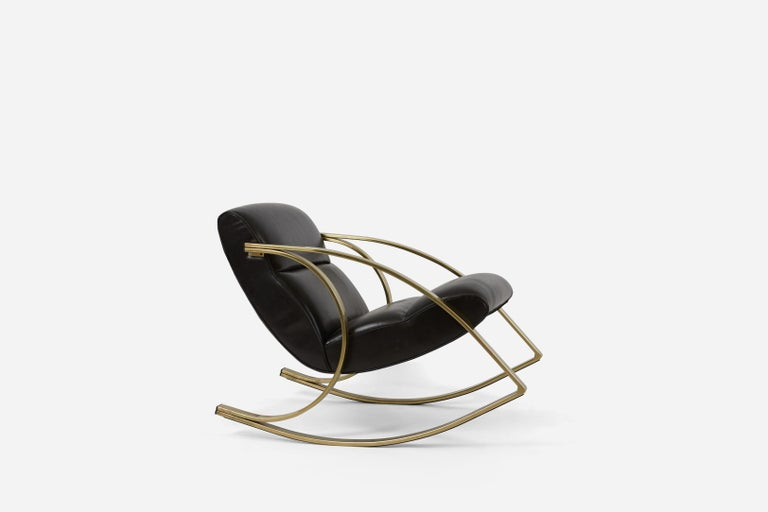 Mid-Century Modern 1970s Brass and Black Leather Rocker Chairs Milo Baughman Style
