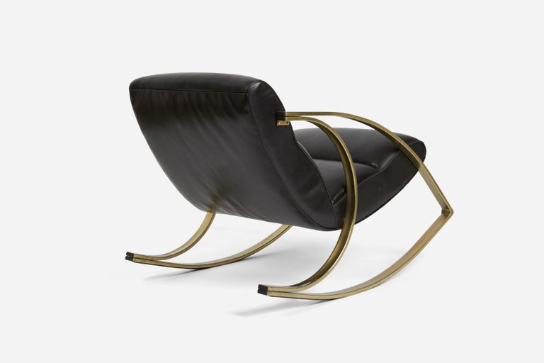 American 1970s Brass and Black Leather Rocker Chairs Milo Baughman Style For Sale